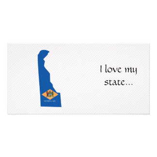 Delaware Flag Map Customized Photo Card