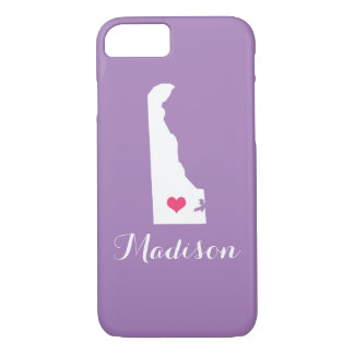 Delaware Heart Lilac Purple Custom Monogram iPhone 7 Case