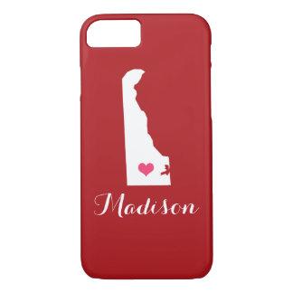 Delaware Heart Maroon Custom Monogram iPhone 7 Case