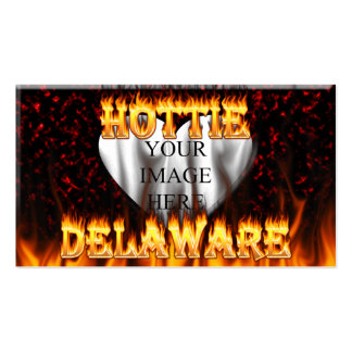 Delaware hottie fire and flames design. business card templates