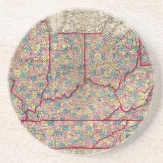 Delaware, Illinois, Indiana, and Iowa Beverage Coasters