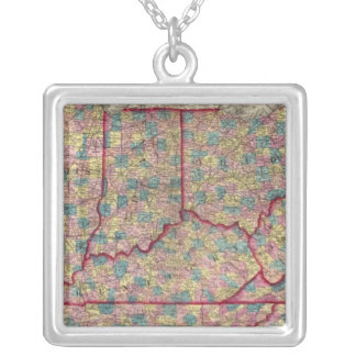 Delaware, Illinois, Indiana, and Iowa Silver Plated Necklace