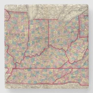Delaware, Illinois, Indiana, and Iowa Stone Beverage Coaster