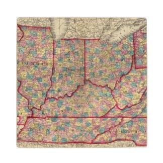 Delaware, Illinois, Indiana, and Iowa Wood Coaster