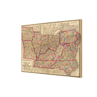 Delaware, Illinois, Indiana, Iowa North Carolina Canvas Print