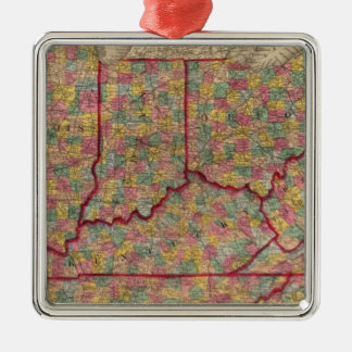 Delaware, Illinois, Indiana, Iowa North Carolina Silver-Colored Square Decoration