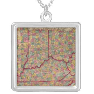 Delaware, Illinois, Indiana, Iowa North Carolina Silver Plated Necklace