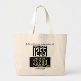 Delaware license plate centennial tote bag