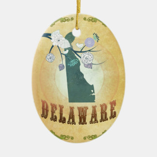 Delaware Map With Lovely Birds Christmas Ornament