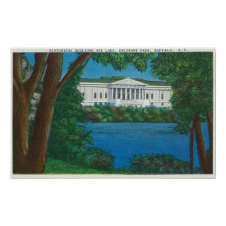 Delaware Park Historical Bldg and Lake View Poster