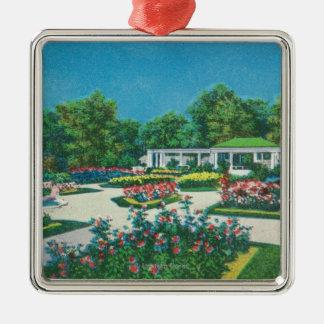 Delaware Park Rose Garden View Silver-Colored Square Decoration