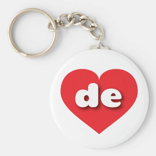 Delaware red heart - mini love basic round button key ring