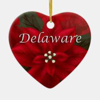 Delaware Red Poinsettia Heart  Keepsake Ornament