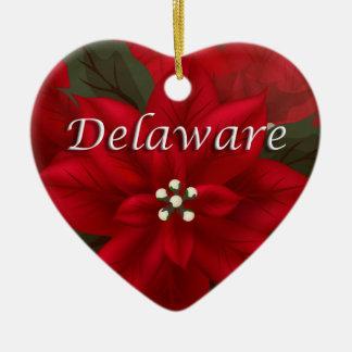 Delaware Red Poinsettia Heart  Keepsake Ornament