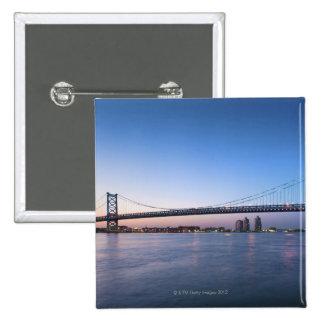 Delaware River, Ben Franklin Bridge 15 Cm Square Badge