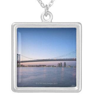 Delaware River, Ben Franklin Bridge Silver Plated Necklace