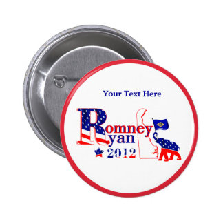 Delaware Romney and Ryan 2012 Button - Customize