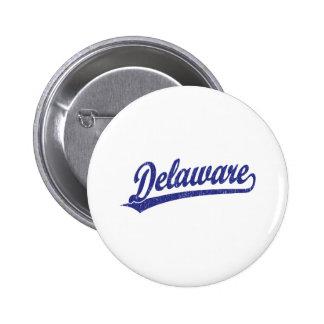 Delaware script logo in blue 6 cm round badge