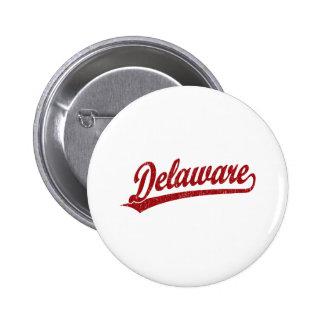 Delaware script logo in red 6 cm round badge