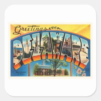 Delaware State DE Old Vintage Travel Postcard- Square Sticker