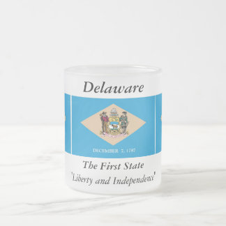 Delaware State Flag Frosted Glass Coffee Mug