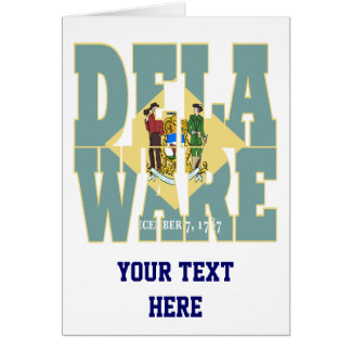 Delaware state flag text card
