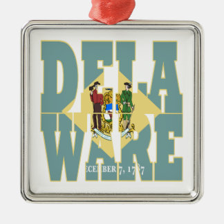 Delaware state flag text christmas ornament