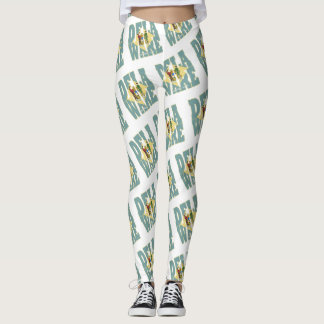 Delaware state flag text pattern leggings
