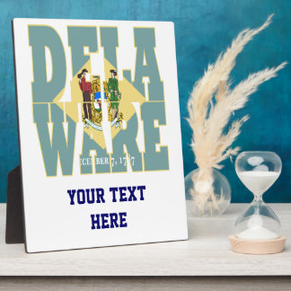 Delaware state flag text plaque