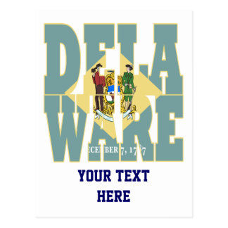 Delaware state flag text postcard