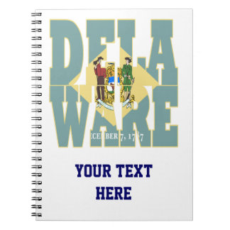Delaware state flag text spiral notebook