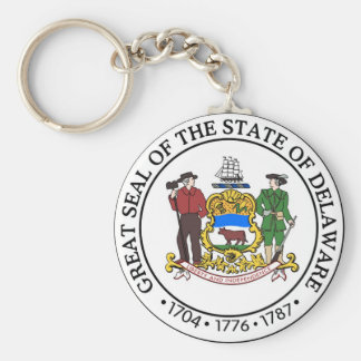 Delaware State Seal and Motto Key Ring