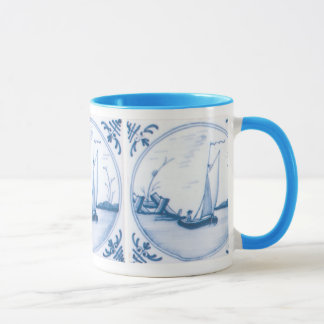 Delft Blue and White Sailboat Coffee Mug
