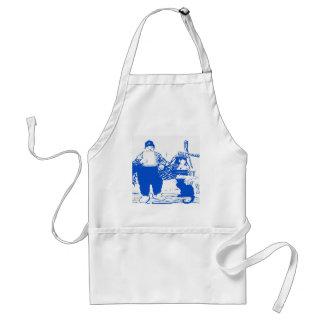 Delft Blue, Dutch Boy and Cat Standard Apron