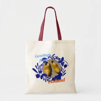 Delft Blue Pattern Clogs Greetings from Holland Budget Tote Bag