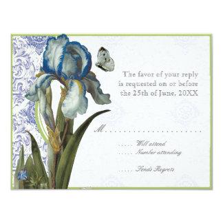 Delft Blue Quatrefoil RSVP Responce Cards 11 Cm X 14 Cm Invitation Card