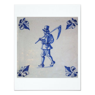 """Delft Blue Tile - Mower Carrying Scythe or Sickle 4.25"""" X 5.5"""" Invitation Card"""