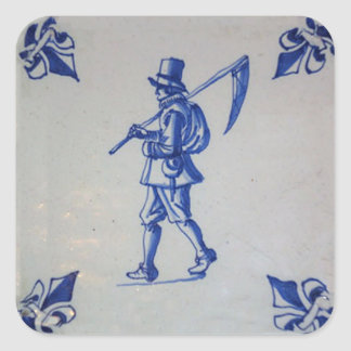 Delft Blue Tile - Mower Carrying Scythe or Sickle Square Sticker