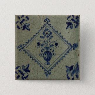 Delft Blue Tile - Vase with Flowers and Bouquet 15 Cm Square Badge