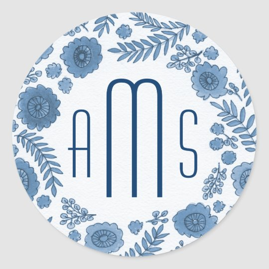 Delft blue watercolor flowers custom monogram classic round