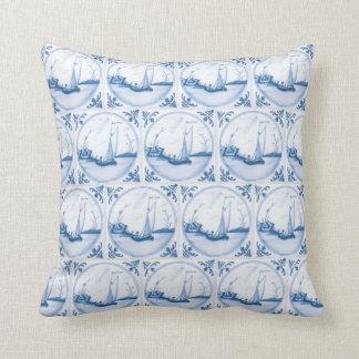 Delft Blue White Sailboat Vintage Faux Tile Pillow