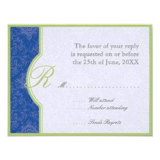 Delft BlueToile  Quatrefoil RSVP Responce Cards 11 Cm X 14 Cm Invitation Card