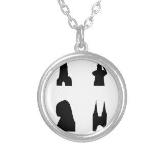 Delft dark silhouette round pendant necklace