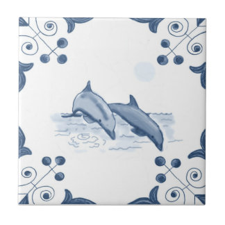 Delft Dolphins Tile with Scroll Corners