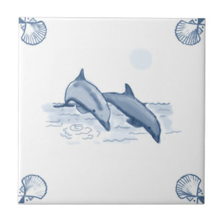 Delft Dolphins Tile with Shell Corners