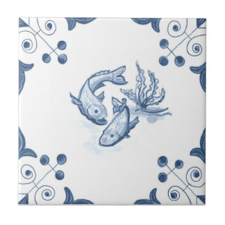 Delft Fish Tile with Scroll Corners