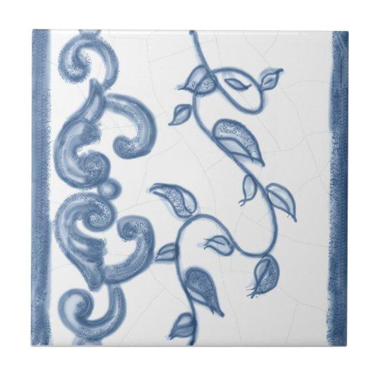 Delft Floral Border Ceramic Tile