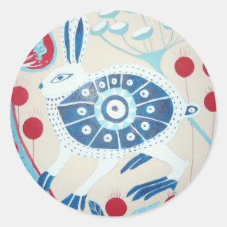 delft hare classic round sticker