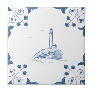 Delft Lighthouse Tile with Scroll Corners