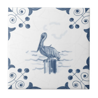 Delft Pelican Tile with Scroll Corners